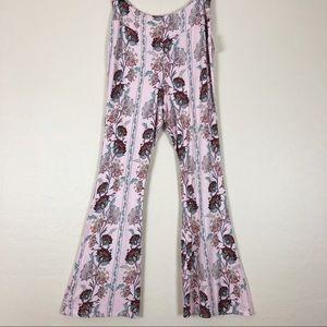 Charlotte Russe | Pink Floral Soft Flare Pants